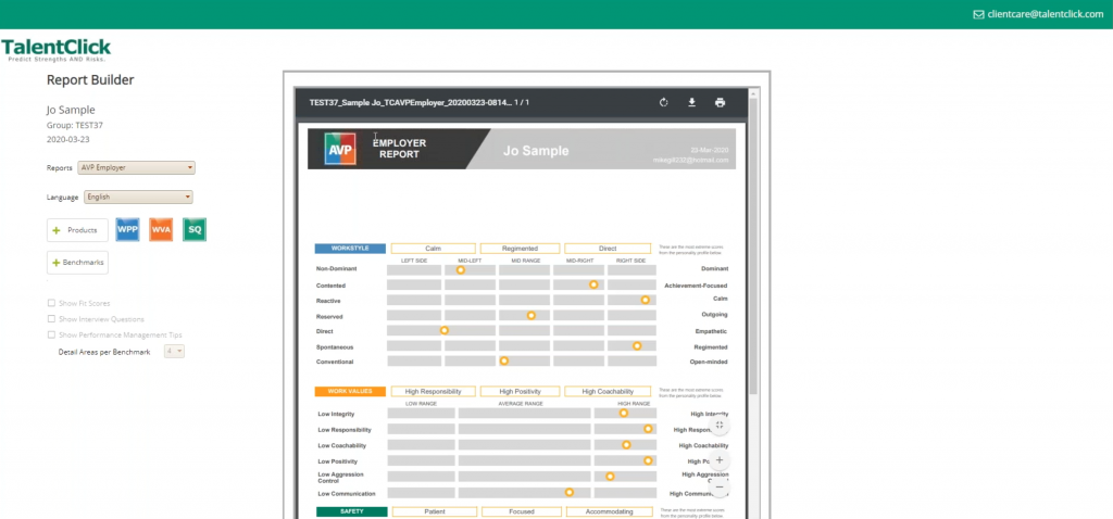Report Builder Demo Insights Benchmark Assessment Fit Score